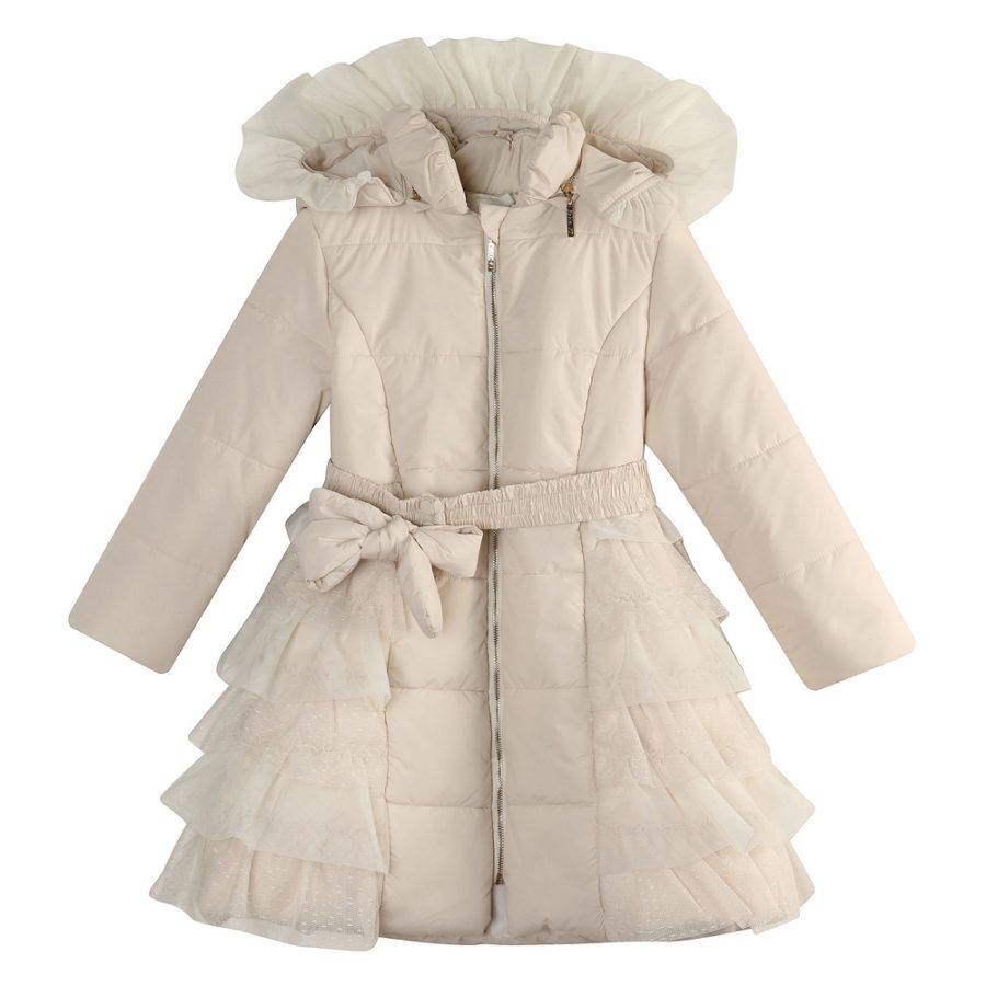 79791139d Padding Jacket with Ruffled Mesh