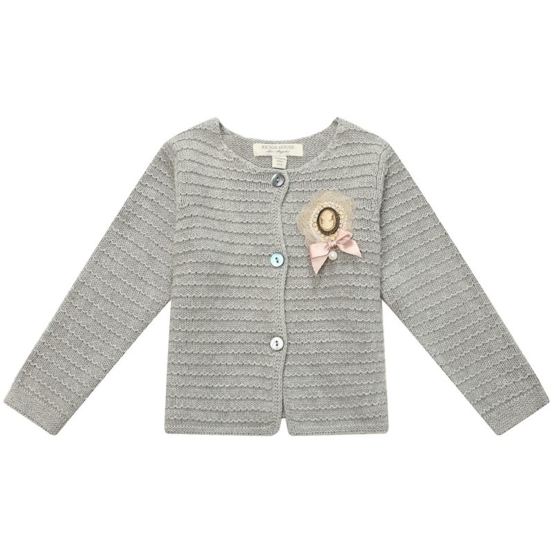 Cardigan Sweater with Brooch