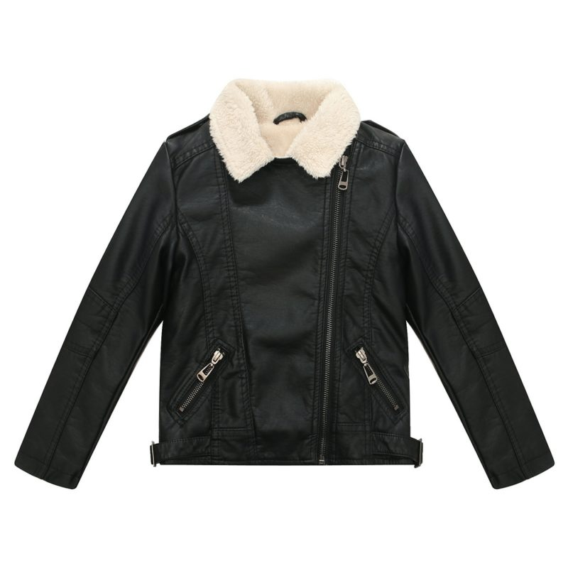 Faux Leather Coat with Short Fleece Inside