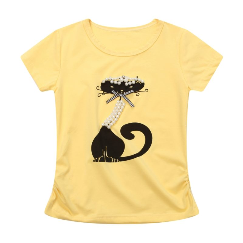 Short Sleeve T-shirt with Cat and Pearls