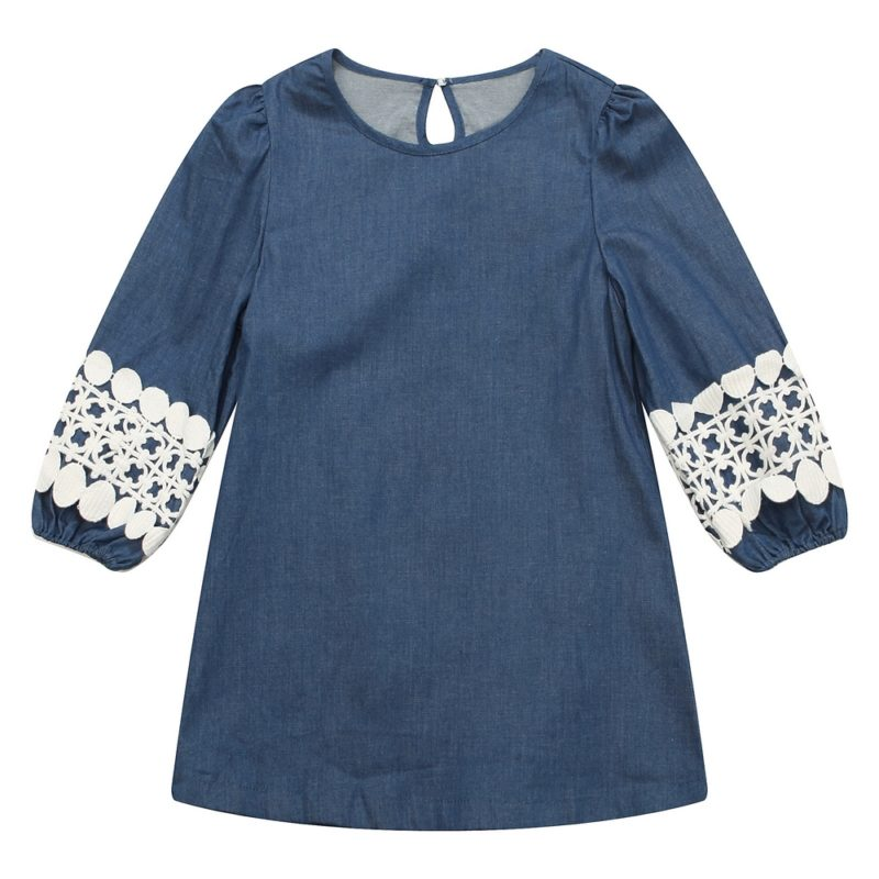 Denim Pullover with Lace Sleeve