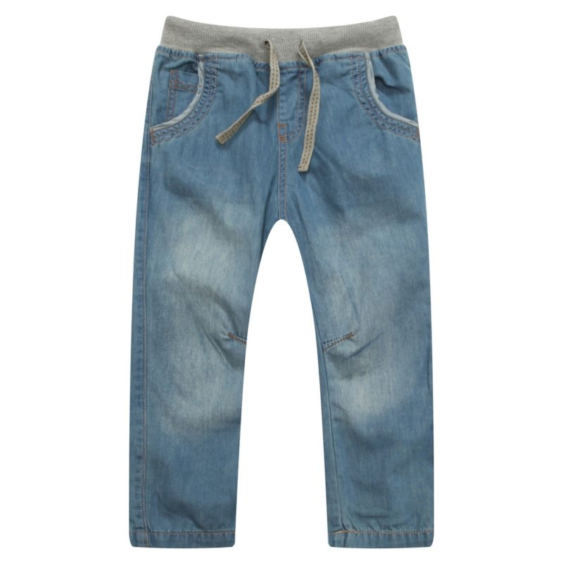Denim Pants with Elastic Waistband