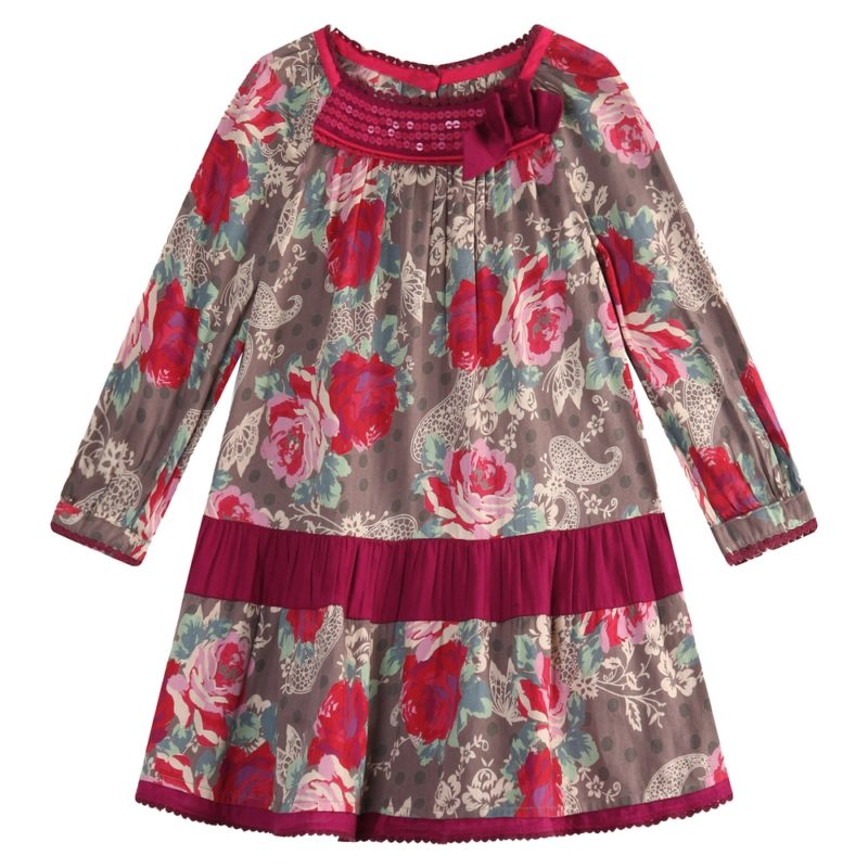 Flower Printed Dress with Pearl Embroidery At Neck