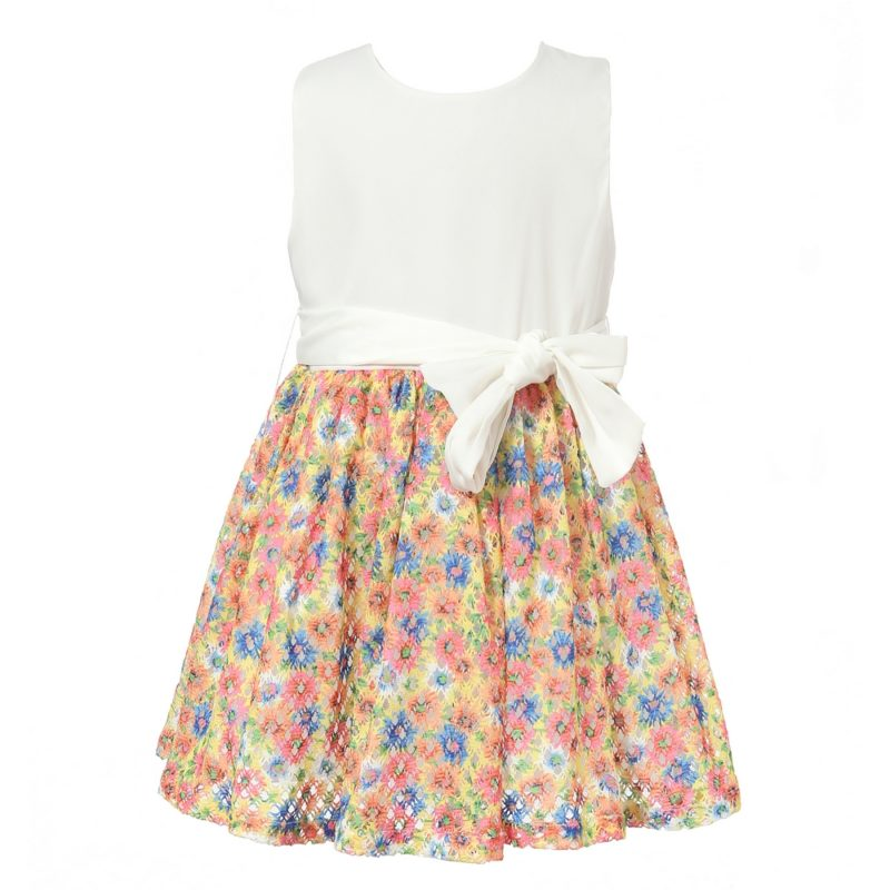 Dress With Flower Printed Bottom Skirt