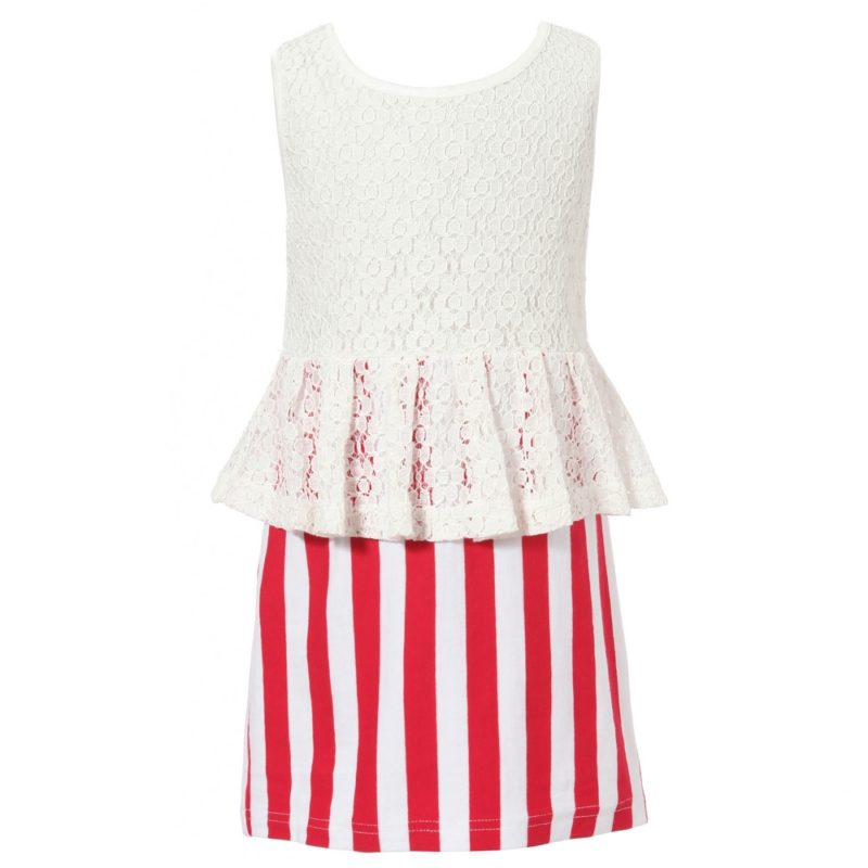 Dress With Contrasting Stripe Skirt