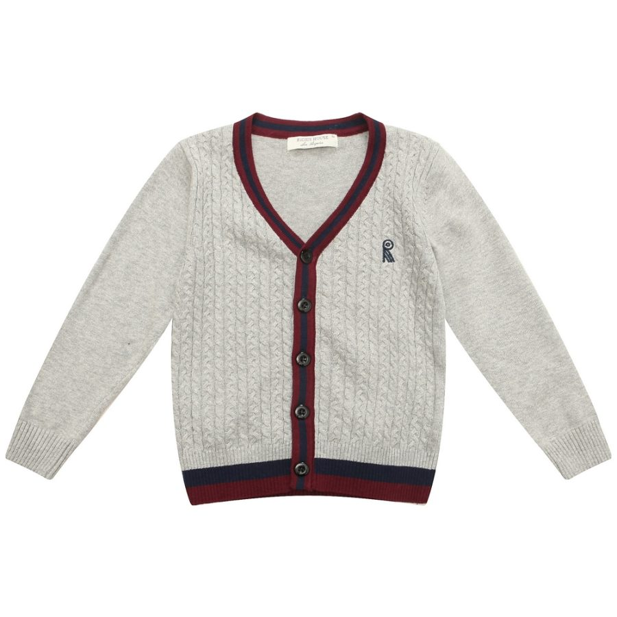 Classic Cardigan Sweater with R Embroidery