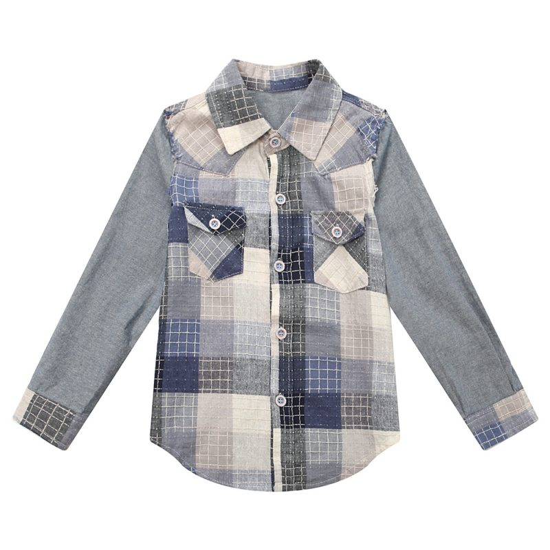 Plaid Blouse with Faded Effect