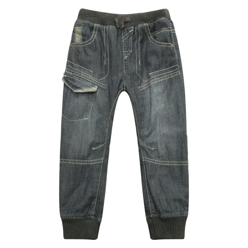 Leisure Denim Pants with Elastic Waistband