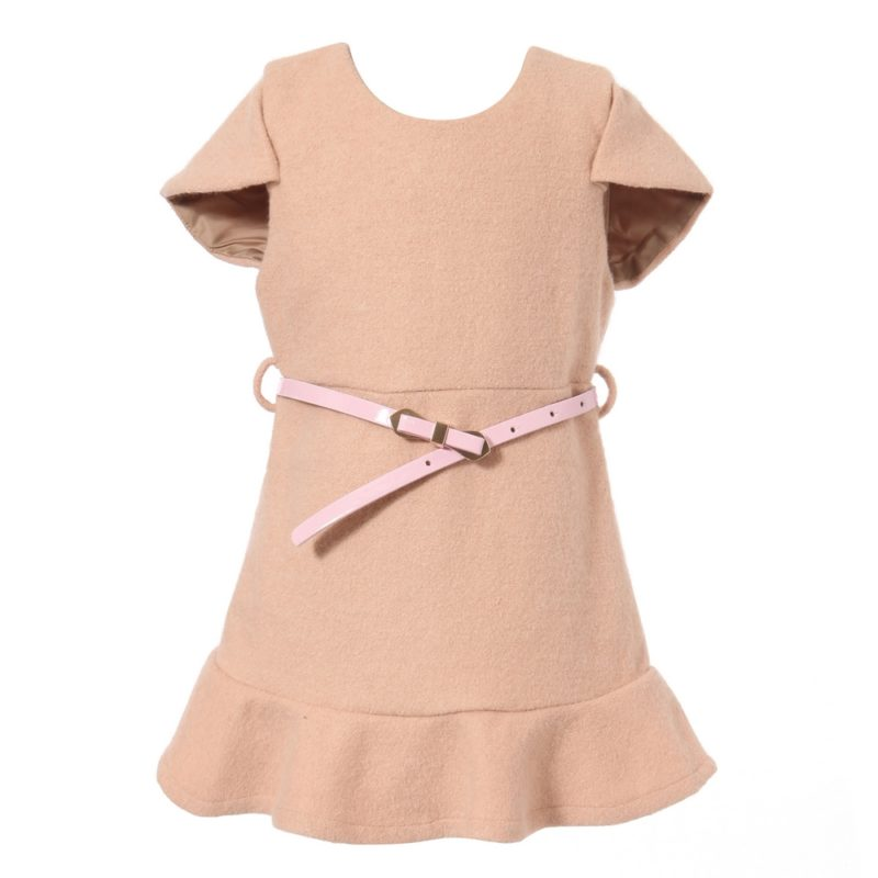 Short-sleeve Dress With Faux Leather Waist Belt