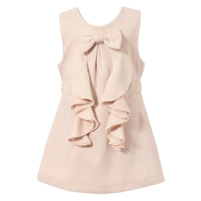 Sleeveless Dress With Front Bow And Ruffle