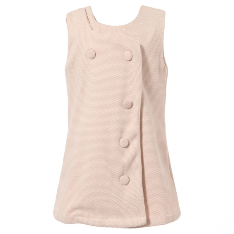 Sleeveless Dress With Double Breasted Front Buttons