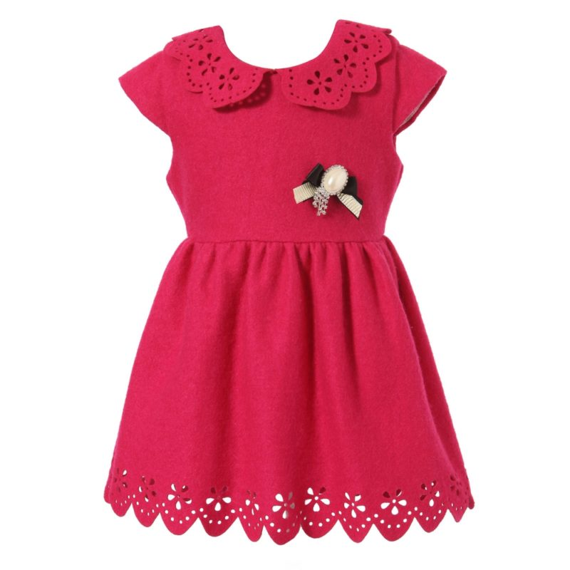 Short-sleeve Dress With Flower Cutout Neck And Hem