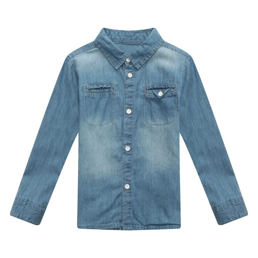 Classic Denim Blouse with Lapel Collar