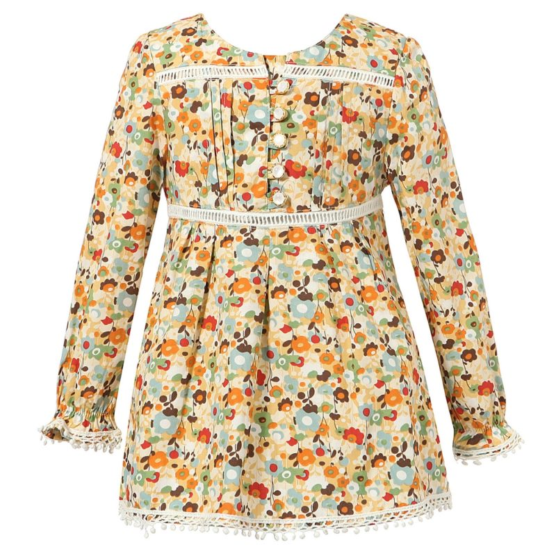 Sweet Long Sleeve Floral Dress with Lace Details