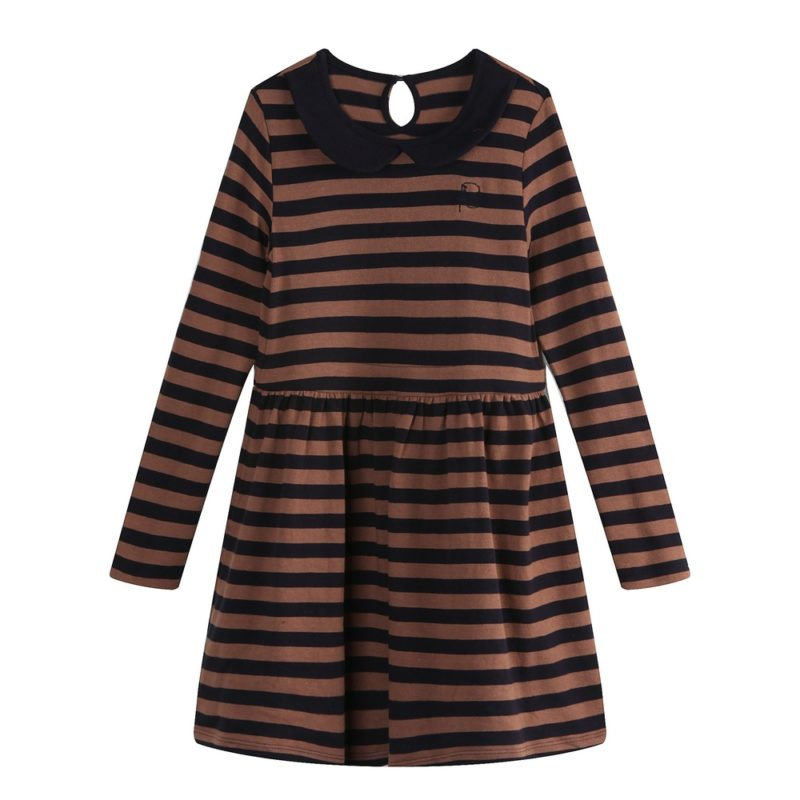 Striped Knitting Dress With Lapel Collar