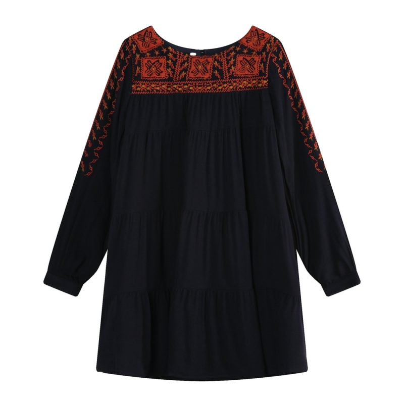 Long Sleeve Dress with Ethnic Embroidery