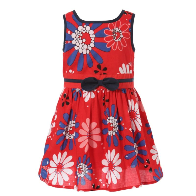 Sweet Sleeveless Dress with Floral Print