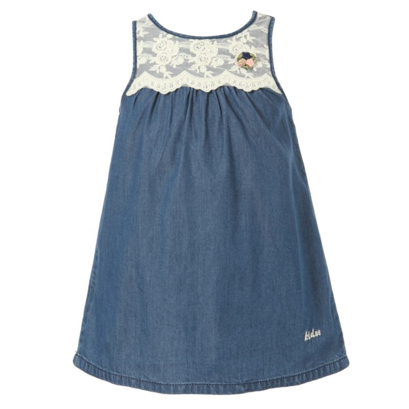 Denim Sundress with Flower Accent