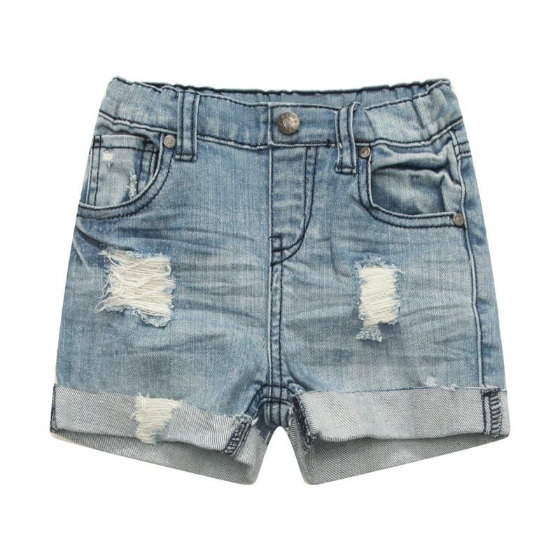 Classic Denim Shorts with Turnup at Hem