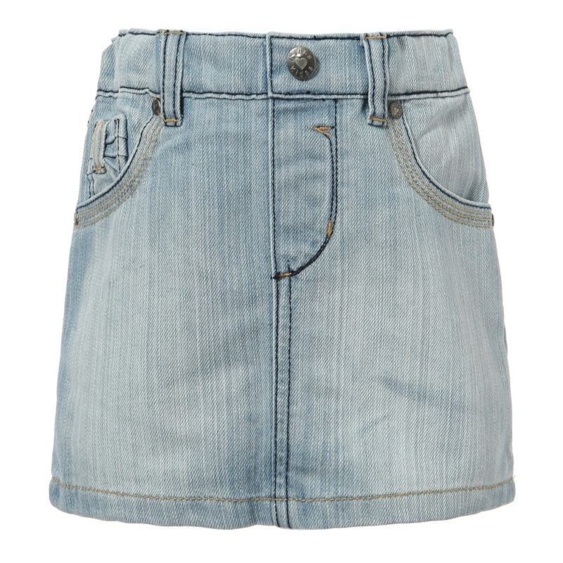 Classic Blue Denim Skirt with Elastic Waistband
