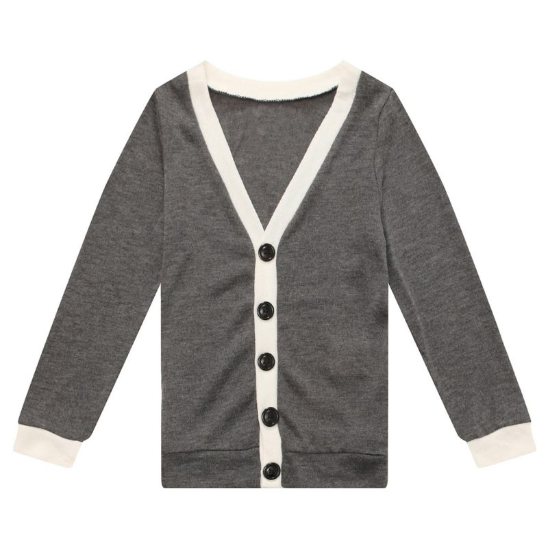 V-neck Knit Cardigan with Contrasting Placket