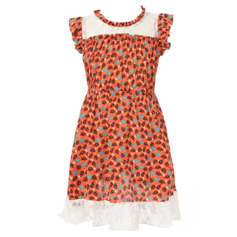 Sweet Print Dress with Lace Bottom