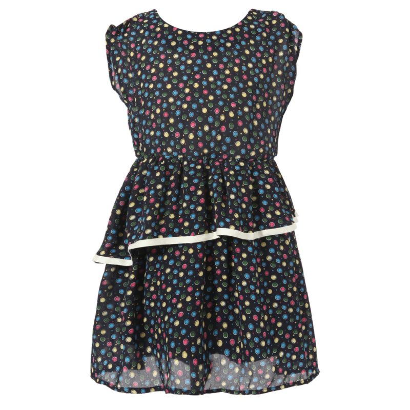 Colorful Polka Dot Layered Bottom Dress