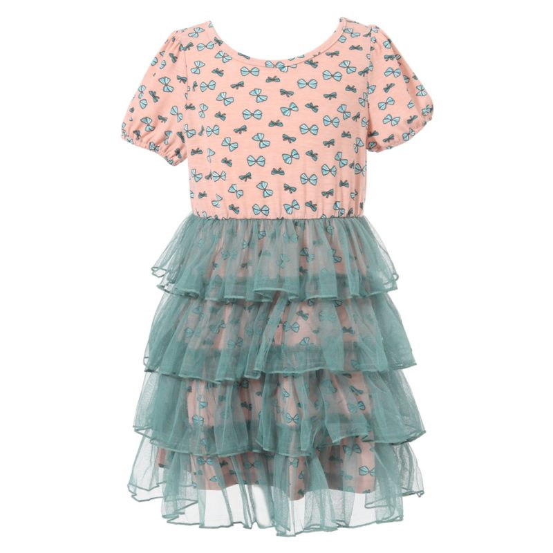 Sweet Little Bow Print Dress with Layered Bottom
