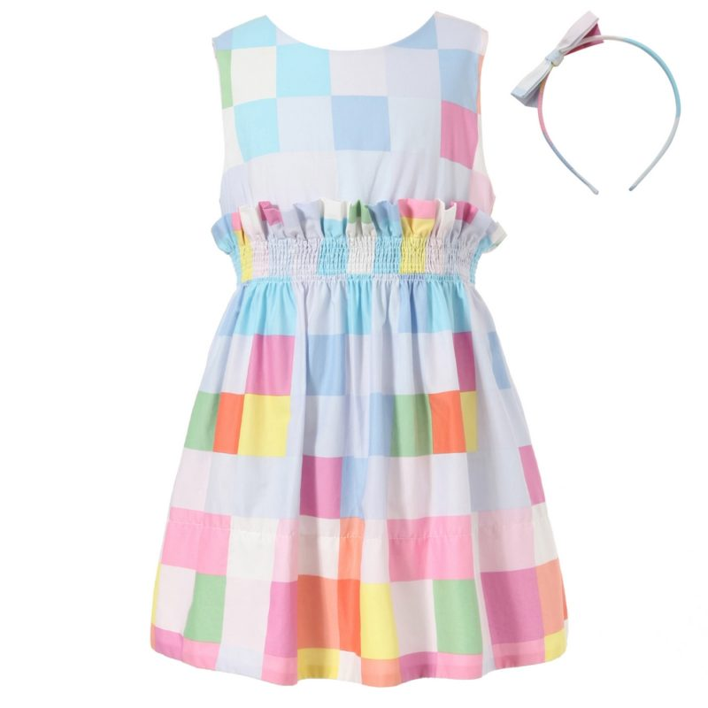 Colorful Plaid Dress with Elastic Waistband