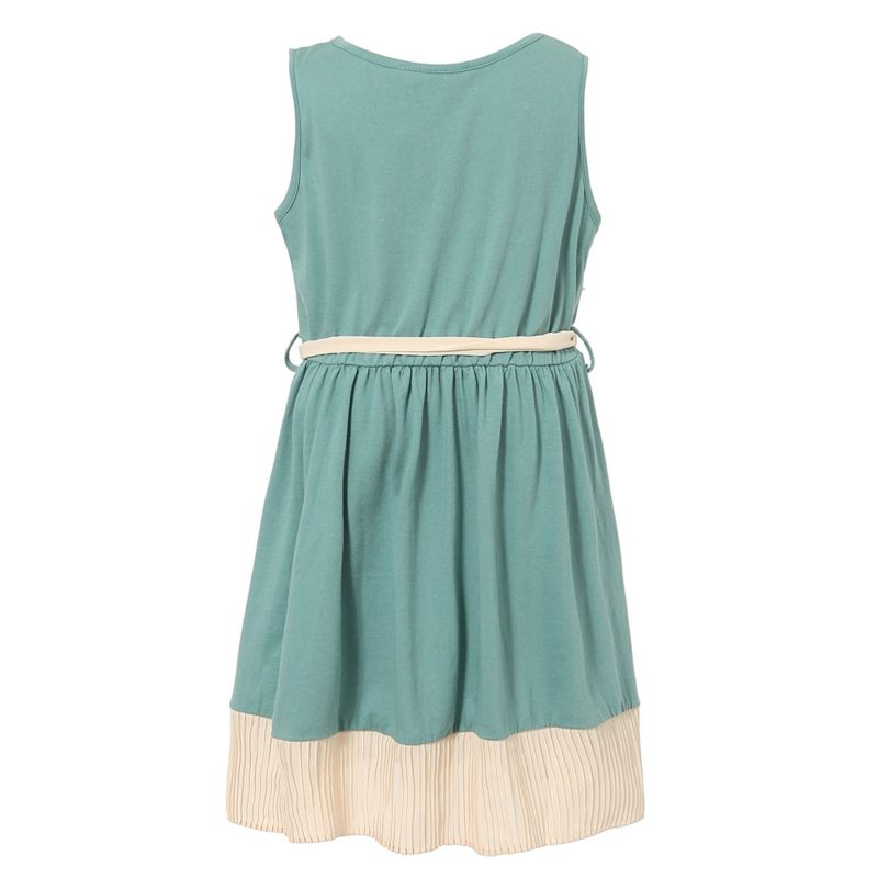 Knit dress with pleated bottom