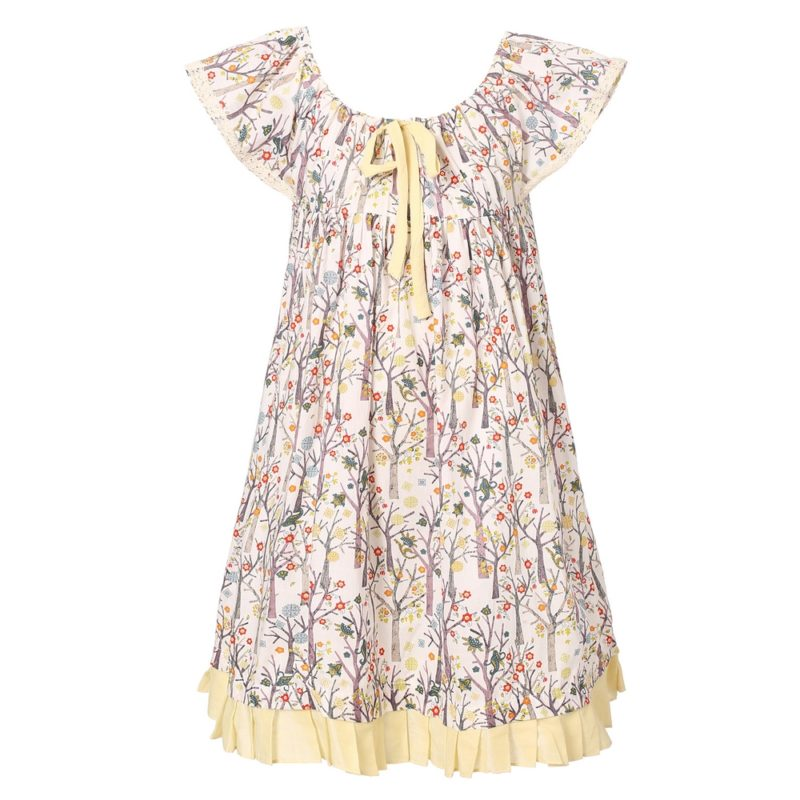 Floral Dress with Elastic Neckline