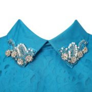 Blue Summer Dress with Fashion Collar