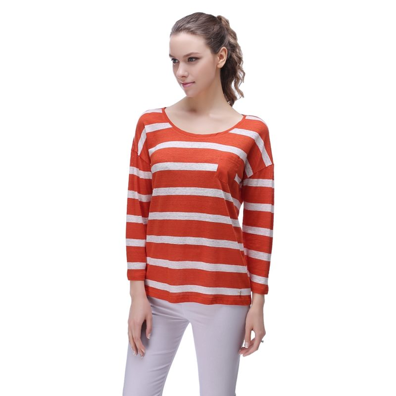 Long sleeve striped linen pullover top