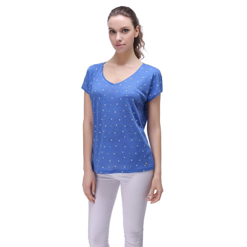 Linen T-shirt with starfish print