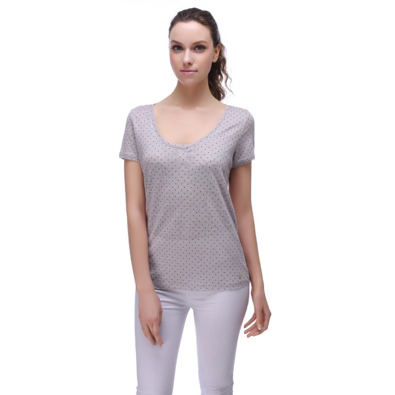 Linen T-shirt with Polka Dot Print