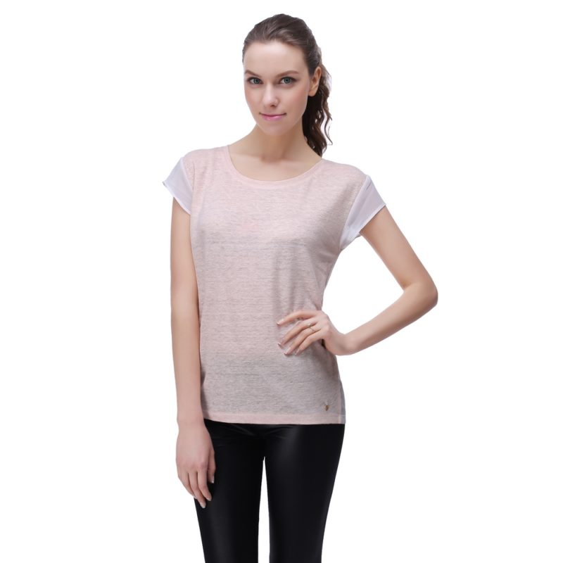 Linen T-shirt with Chiffon Sleeve and Back
