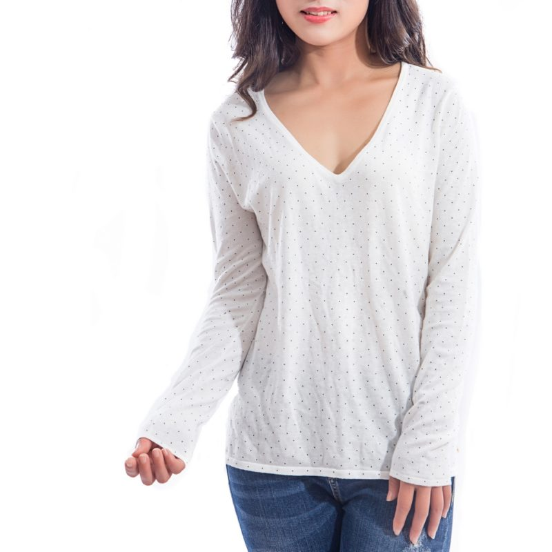 Pullover Top with Polka Dots