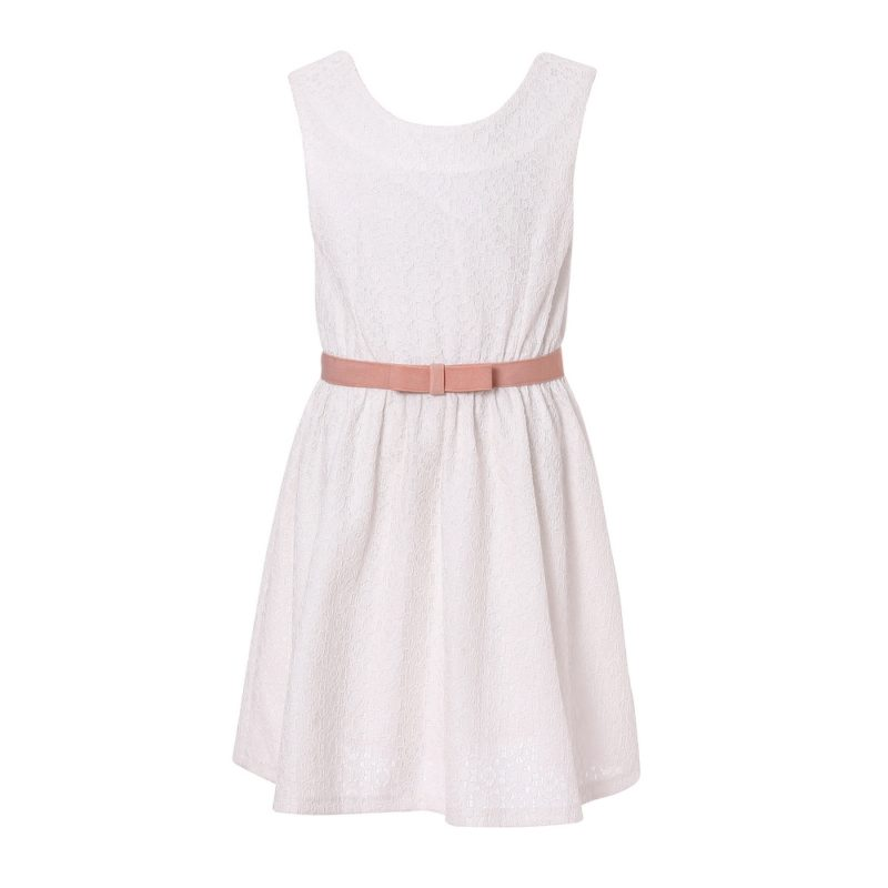 Elegant White Dress with Belt RH2079