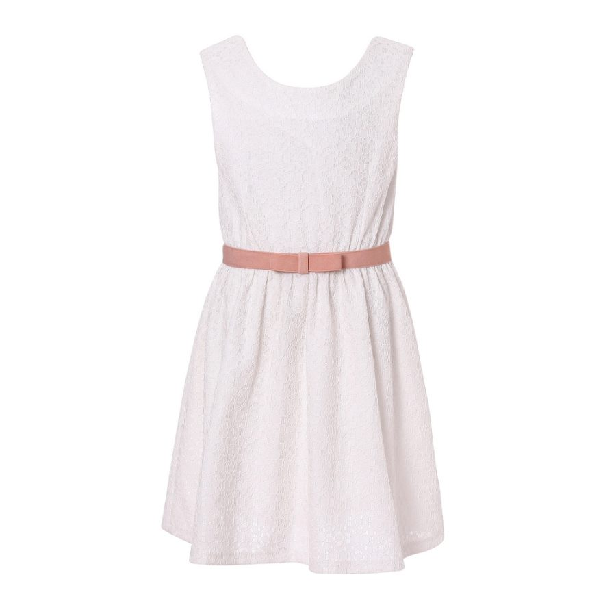 white dress with belt richie house