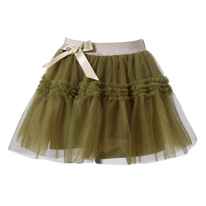 Multi-layered Mesh Skirt with Bow