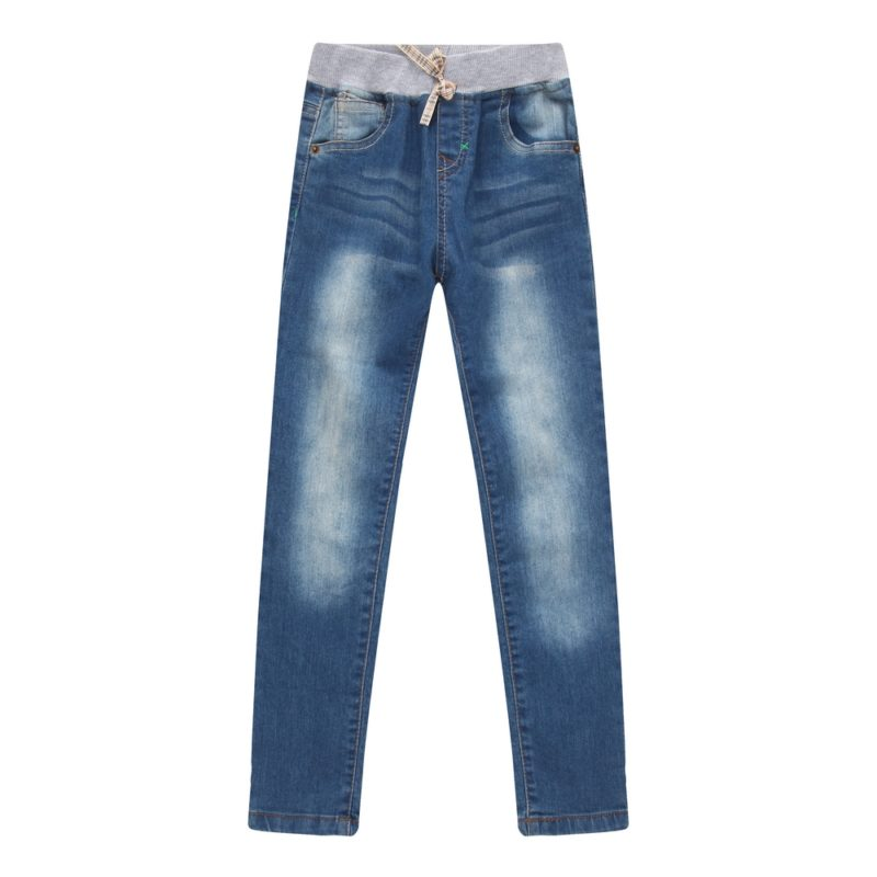 Classic Denim Pants with Elastic Waistband
