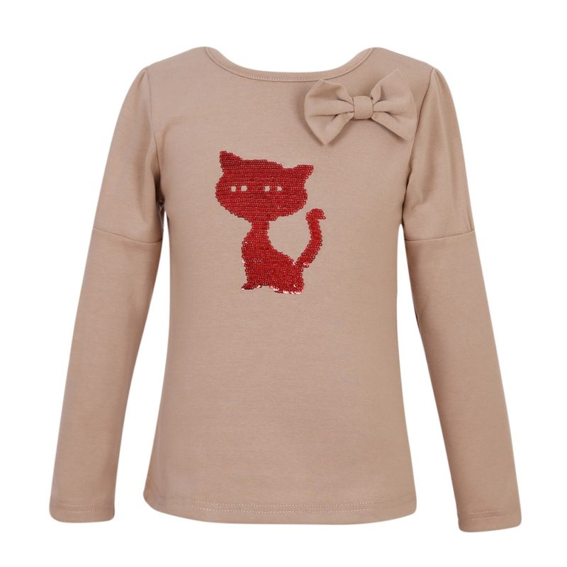 Pullover Shirt with Cat Embroidery