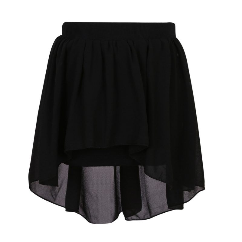 Knit Skirt with Irregular Chiffon Covered