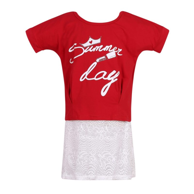 Knit T-Shirt with Lace Bottom