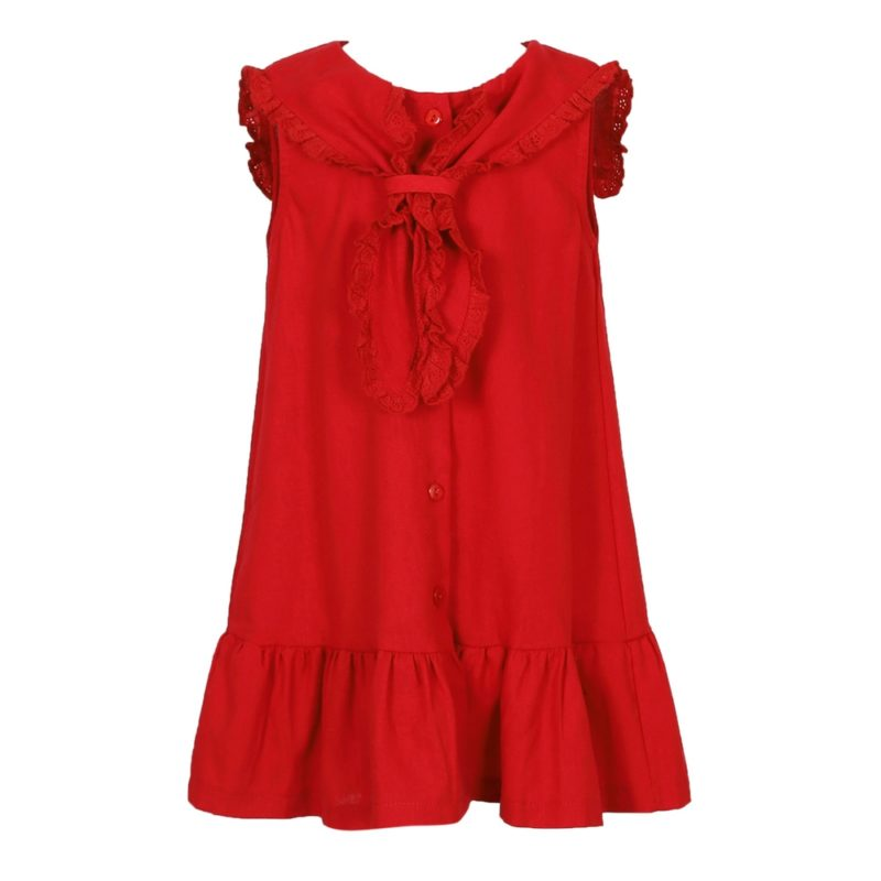 Dress with Ruffles and Front Scarf