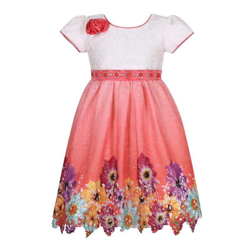 Party Princess Dress with Flower Accent