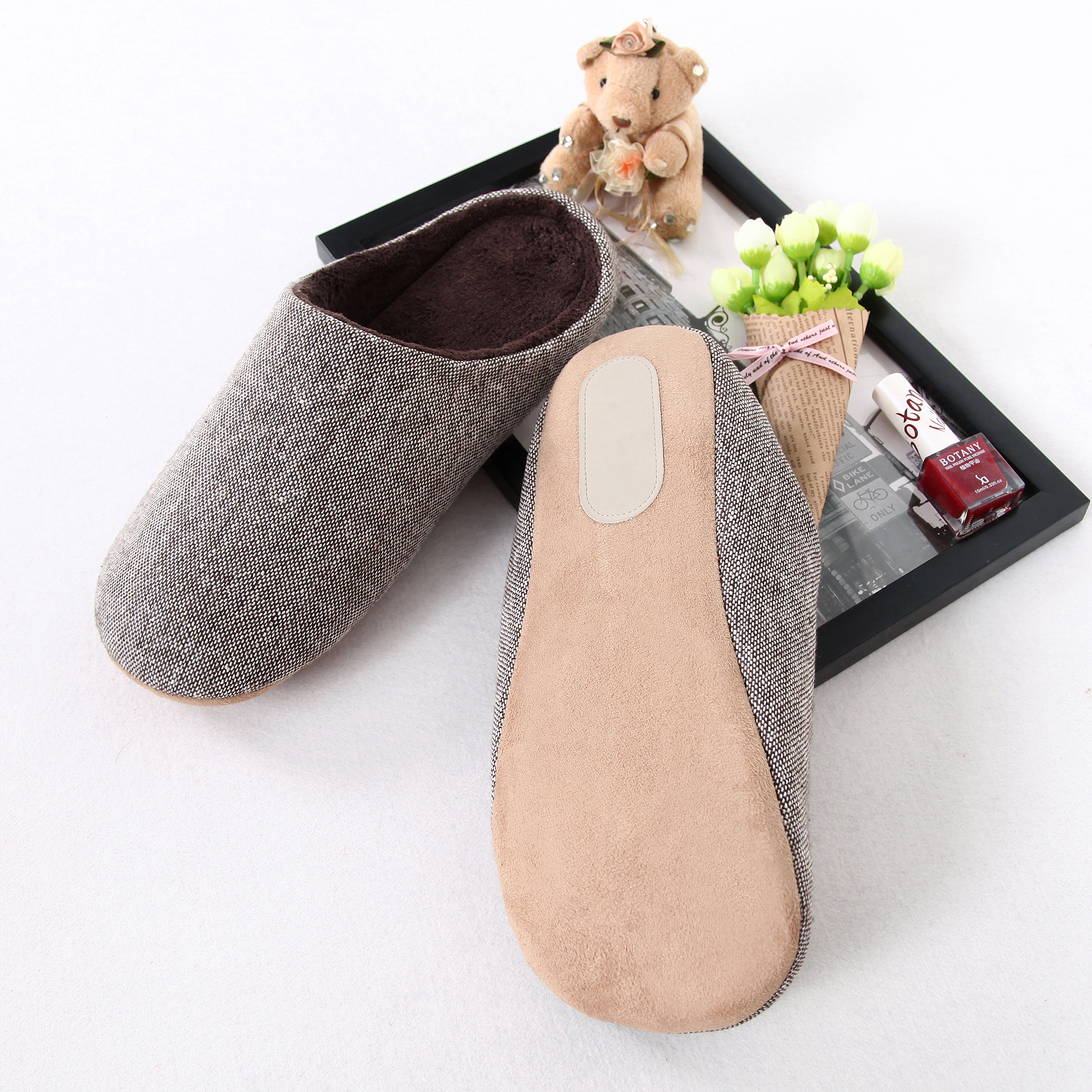 Yarn Dyed Top With Soft Plush lining House Slippers