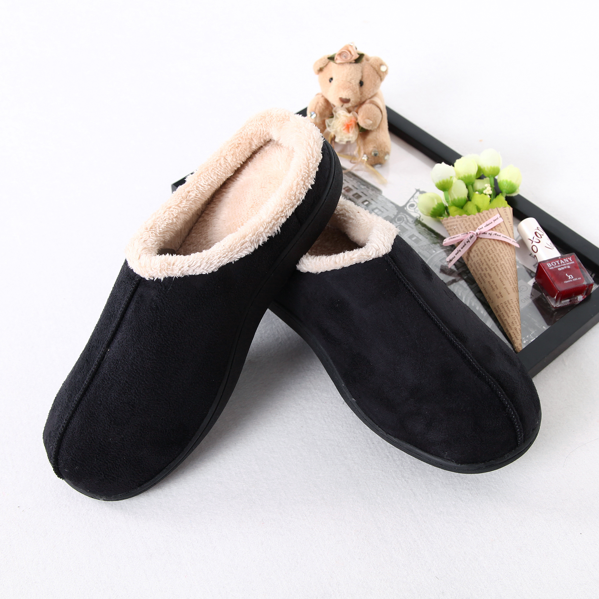 Suede With Coral Fleece lining House Slippers