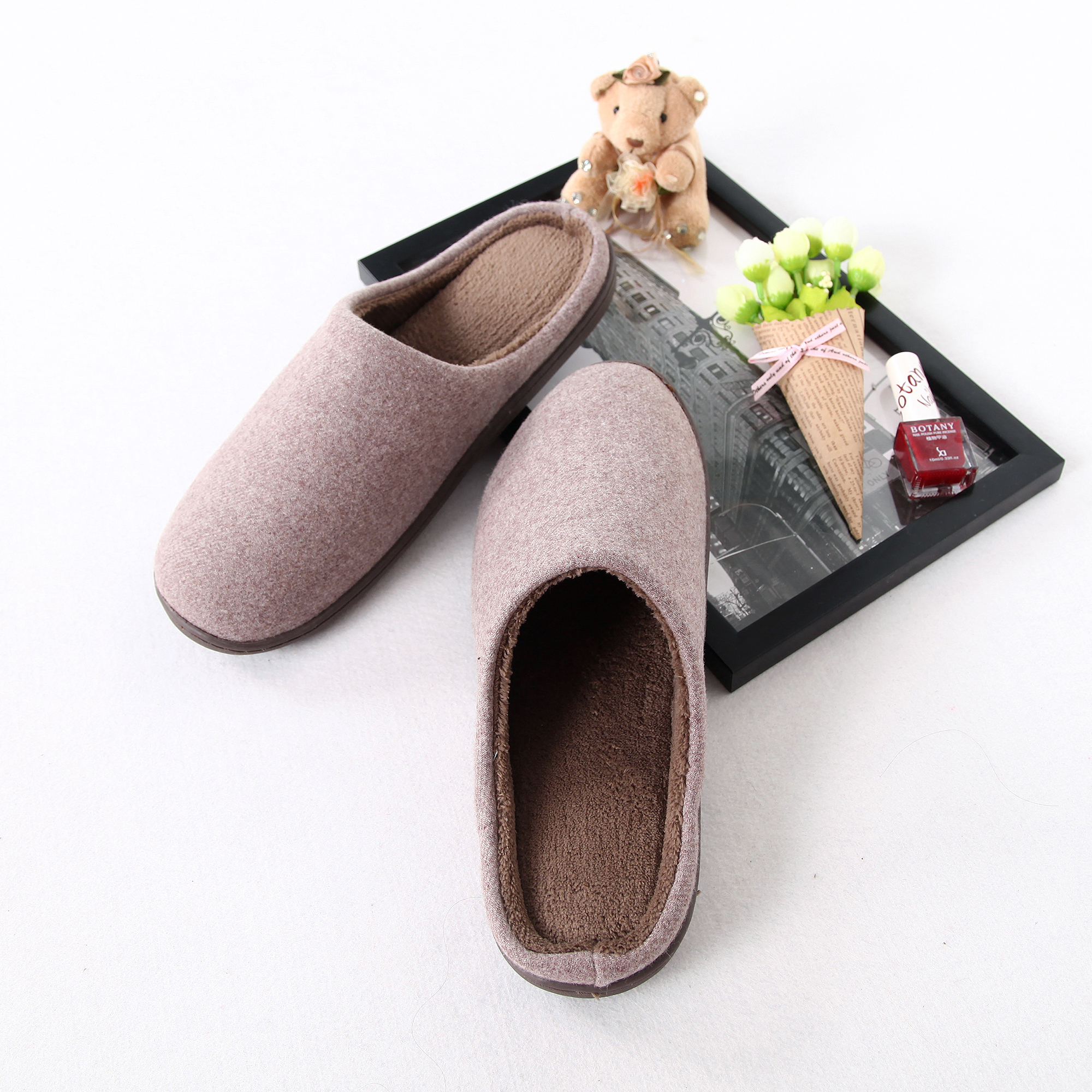Wool Fabric With Coral Fleece lining House Slippers
