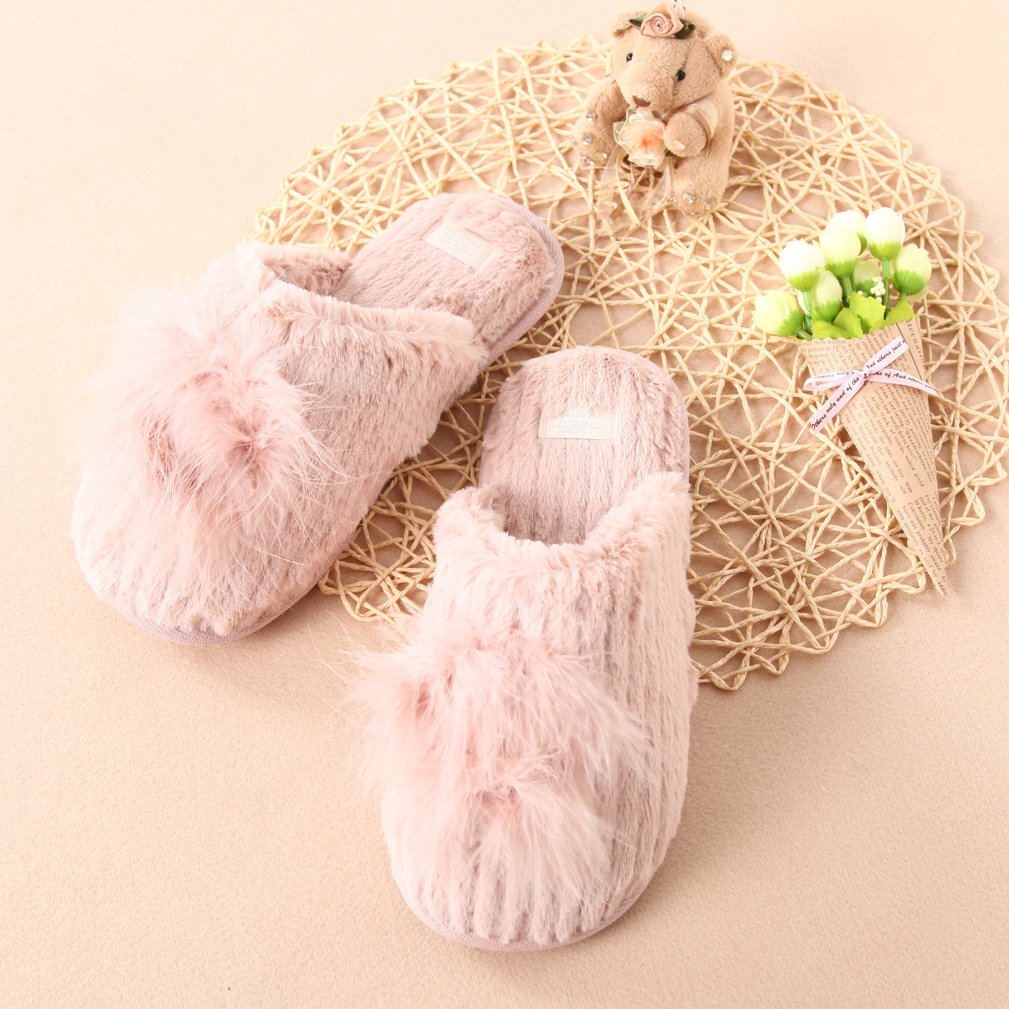 Plush Slippers on Memory Foam House Slippers